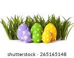 Row Of Easter Eggs In Fresh...