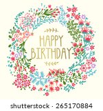 birthday card with floral... | Shutterstock .eps vector #265170884
