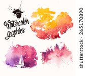 Nature silhouettes in colorful ink splatters  | Shutterstock vector #265170890