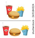 burger  fries and soda fast... | Shutterstock . vector #265184324