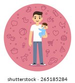 young man holding baby boy in... | Shutterstock .eps vector #265185284