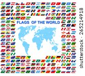 flags of the world and  map on... | Shutterstock .eps vector #265214918