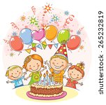 kids birthday party with a big... | Shutterstock .eps vector #265232819
