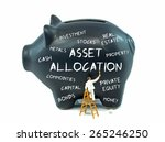 Small photo of Asset allocation theme piggy bank on a white background