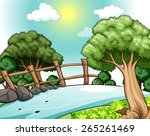 poster of a river with trees on ... | Shutterstock .eps vector #265261469