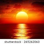 Big Sunset Over Sea   Summer...