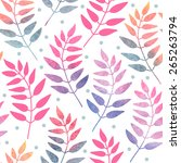 seamless pattern with plants....   Shutterstock .eps vector #265263794