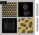 set of 4 gold design card... | Shutterstock .eps vector #265265618