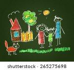 happy family. kids drawings.... | Shutterstock . vector #265275698