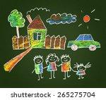 happy family. kids drawings.... | Shutterstock . vector #265275704