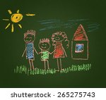happy family. kids drawings.... | Shutterstock . vector #265275743