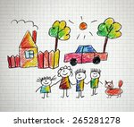 happy family. kids drawings.... | Shutterstock . vector #265281278