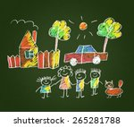 happy family. kids drawings.... | Shutterstock . vector #265281788