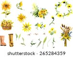 composition of yellow sunflower ... | Shutterstock .eps vector #265284359