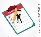 businessman holding checklist... | Shutterstock .eps vector #265290119