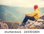 man traveler relaxing alone in... | Shutterstock . vector #265301804
