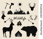 wildlife  camping and adventure ... | Shutterstock .eps vector #265303016