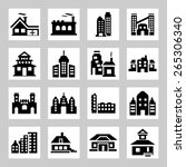 buildings icons set | Shutterstock . vector #265306340