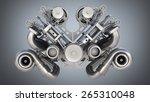 v8 bi turbocharger engine on... | Shutterstock . vector #265310048
