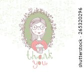 thank you  card. stylish floral ... | Shutterstock .eps vector #265320296