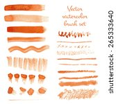 set of watercolor vector brush... | Shutterstock .eps vector #265333640