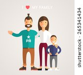 happy family parents with son.... | Shutterstock .eps vector #265341434
