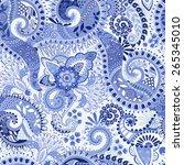 blue seamless pattern. floral... | Shutterstock .eps vector #265345010