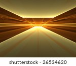 Golden Enlightenment - 3D fractal landscape - stock photo