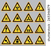yellow warning and danger signs ... | Shutterstock .eps vector #265346879