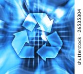 Blue recycling symbol conceptual illustration - stock photo