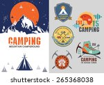 set of vintage outdoor camp... | Shutterstock .eps vector #265368038