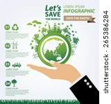ecology concept. save world... | Shutterstock .eps vector #265386284
