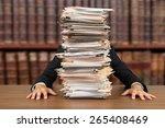 emotional stress  paperwork ... | Shutterstock . vector #265408469