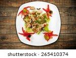 meal  plate  overhead. | Shutterstock . vector #265410374