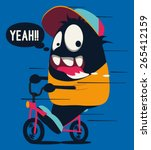 monster on the bicycle | Shutterstock .eps vector #265412159