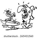 cartoon shark eating a surfer...   Shutterstock .eps vector #265431560