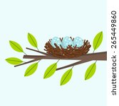 bird nest on the tree branch.... | Shutterstock .eps vector #265449860