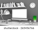 3d illustration office workplace | Shutterstock . vector #265456766