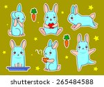 set of cute bunny in different... | Shutterstock .eps vector #265484588