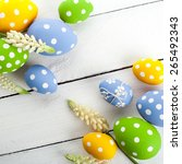 vintage colorful easter eggs on ... | Shutterstock . vector #265492343