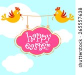 happy easter background with... | Shutterstock .eps vector #265557638