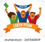 group of sport fans with ribbon | Shutterstock .eps vector #265560839