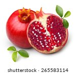 pomegranate isolated on white... | Shutterstock . vector #265583114