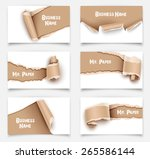 set of business cards with torn ... | Shutterstock .eps vector #265586144