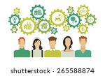 people with gears over their... | Shutterstock .eps vector #265588874