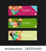 set of banners with stickers ... | Shutterstock .eps vector #265595630