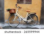White Retro Bicycle With Wicke...