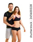 athletic man and woman after... | Shutterstock . vector #265600328