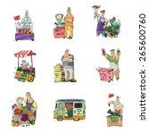 street retail and market set  ... | Shutterstock .eps vector #265600760