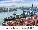 industrial port with containers | Shutterstock . vector #265603106